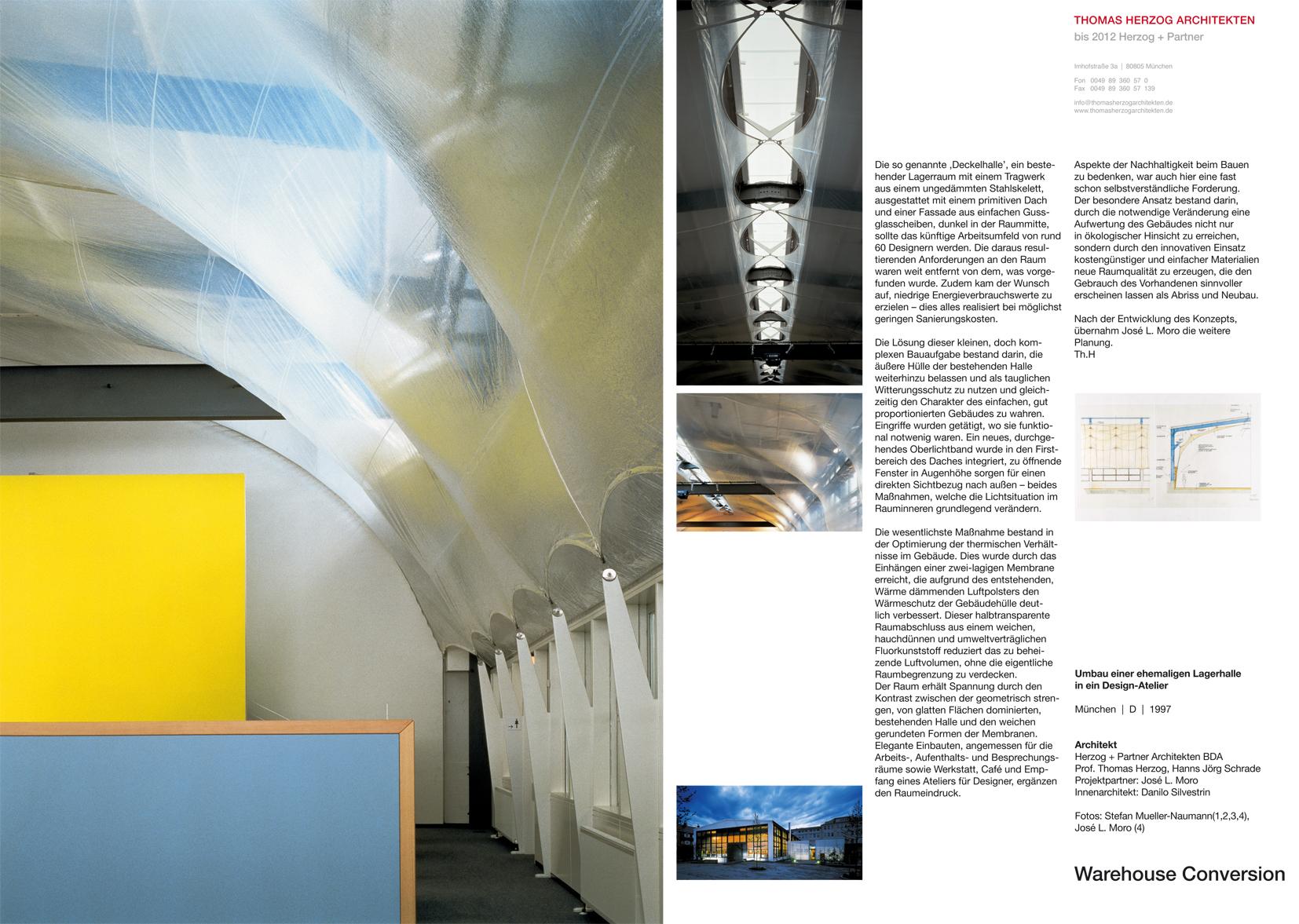 Umbau einer Lagerhalle in ein Design Atelier München DE 1997