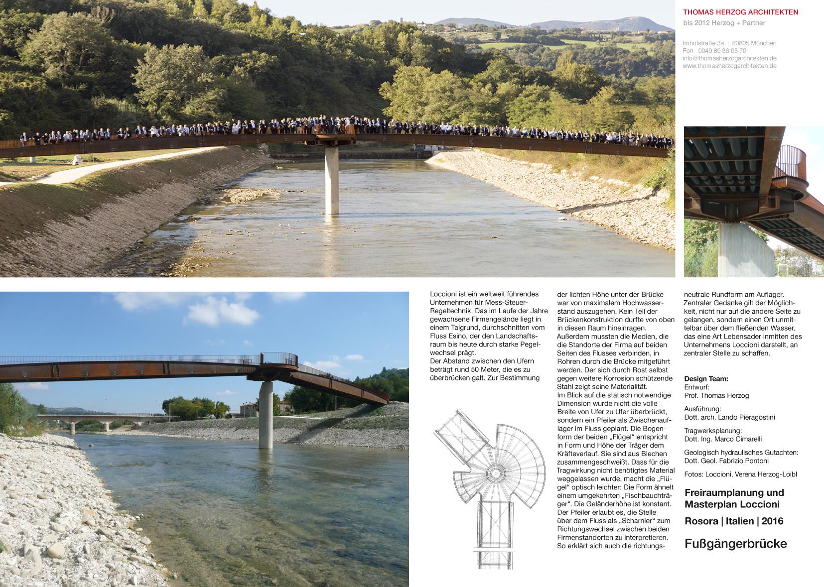Fußgängerbrücke Rosora IT 2016 Freiraumplanung und Masterplan Loccioni