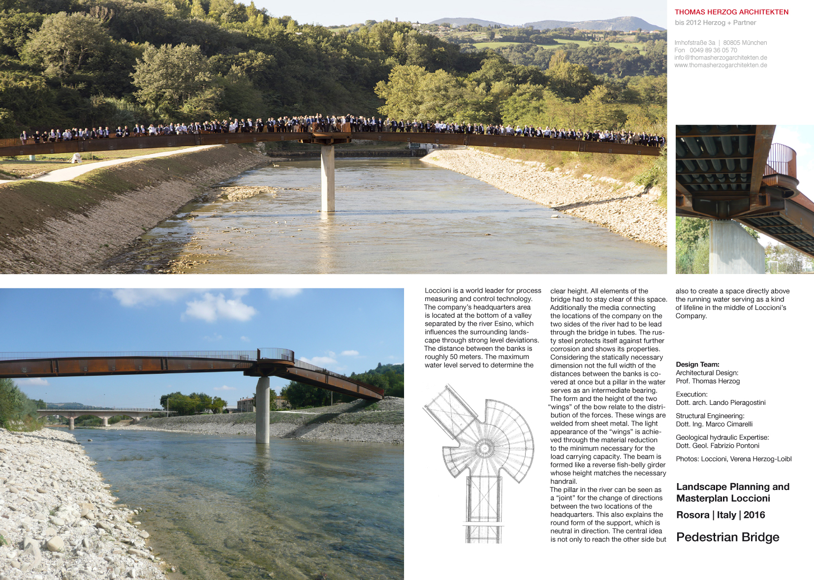 Pedestrian Bridge Rosora IT 2016 Landscape Planning and Masterplan Loccioni